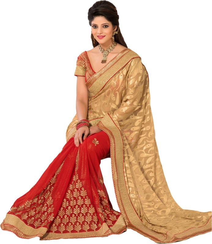 M.S.Retail Embroidered Bollywood Chiffon, Brasso Saree(Gold)