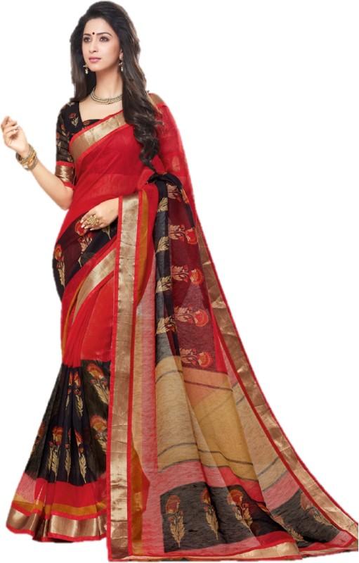 Miraan Printed Bhagalpuri Linen Saree(Multicolor)