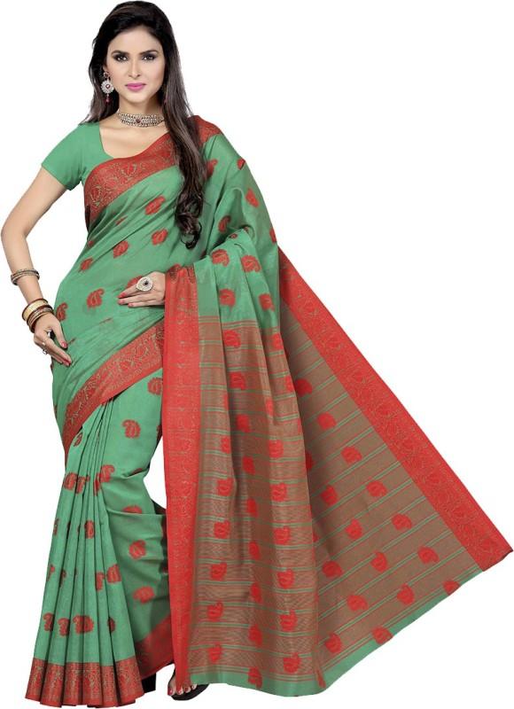 Rani Saahiba Woven Fashion Art Silk Saree(Green)