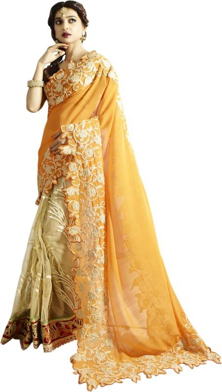Chirag Sarees Embroidered Bollywood Georgette Saree(Orange)
