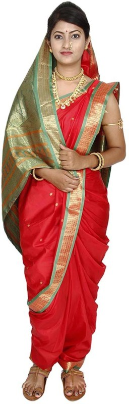 Womens Cottage Solid Assam Silk Art Silk Saree(Red)
