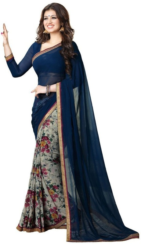 Bombey Velvat Fab Floral Print Daily Wear Chiffon Saree(Blue)