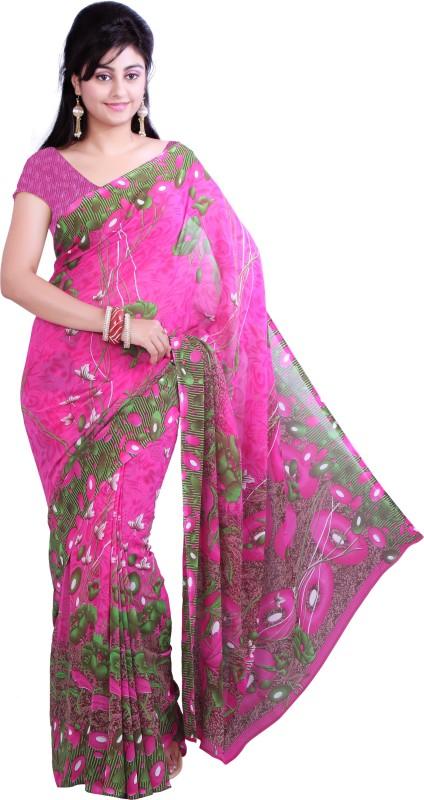 Ishin Printed Fashion Georgette Saree(Pink)