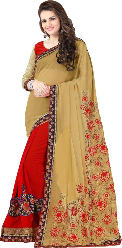 onlinefayda Embroidered Bollywood Georgette Saree(Beige, Maroon)