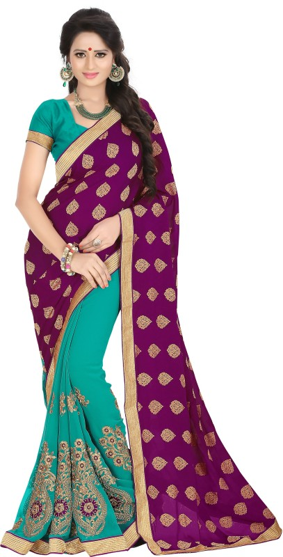 Khushali Self Design, Embroidered, Embellished Fashion Georgette, Jacquard Saree(Purple, Light Blue)