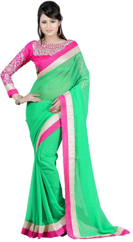 Winza Designer Self Design, Embroidered, Embellished, Solid Bollywood Georgette, Poly Georgette Saree(Multicolor, Green, Pink)