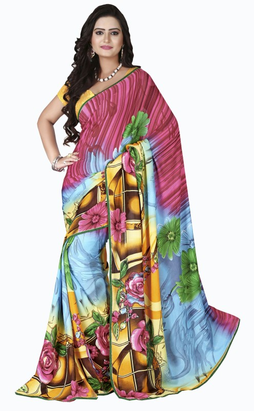 Parisha Self Design, Printed Fashion Poly Georgette Saree(Multicolor, Yellow)