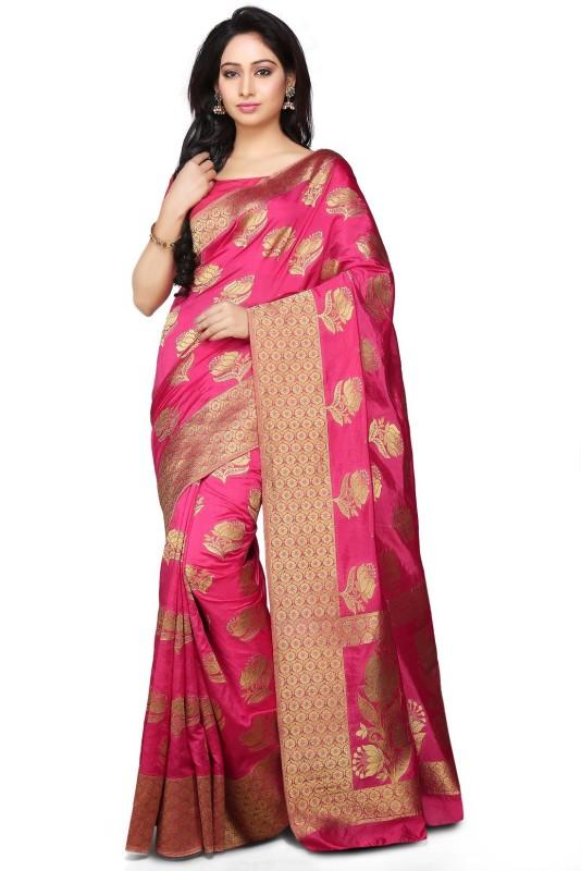 Rachit Embellished Kanjivaram Art Silk Saree(Pink)