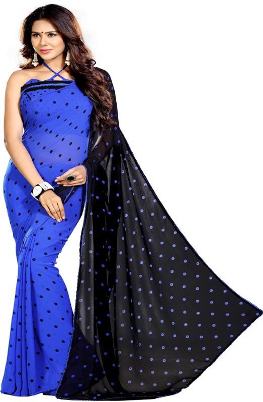 Sourbh Sarees Self Design Fashion Synthetic Georgette Saree(Black, Blue)