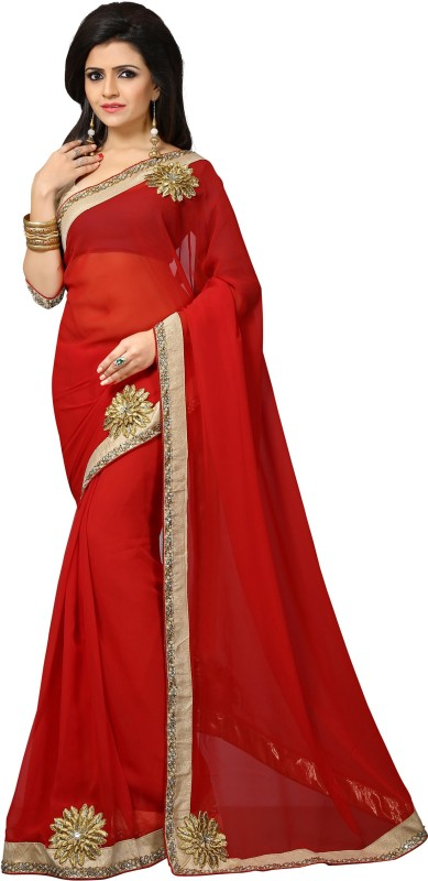 Indianbeauty Self Design, Solid, Embroidered, Embellished Fashion Georgette Saree(Red)