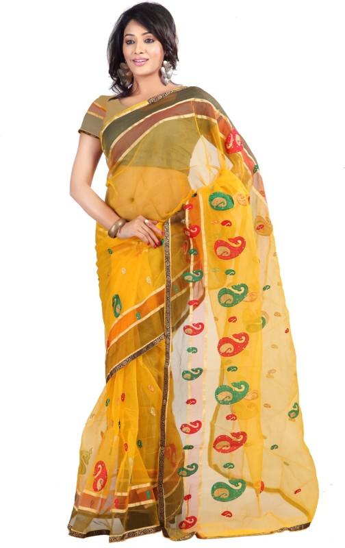 Florence Embroidered Fashion Tissue Saree(Yellow)