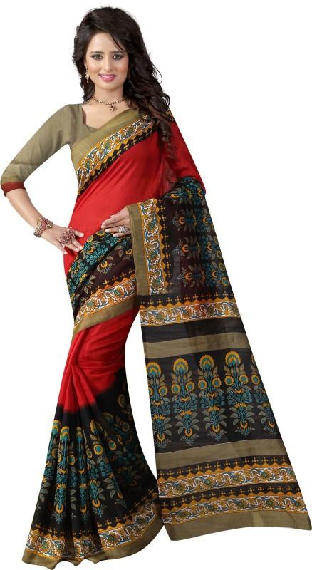 Glory Sarees Printed Bhagalpuri Art Silk Saree(Red, Black)