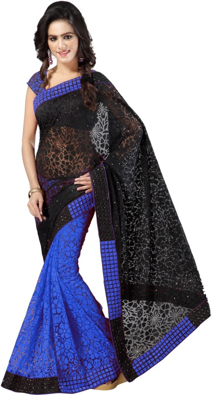 Aruna Sarees Self Design, Embroidered Bollywood Handloom Net, Brasso Saree(Blue, Black)