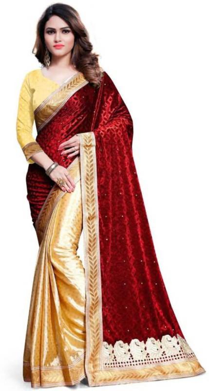 Sonu Creation Embellished Bollywood Velvet Saree(Red)