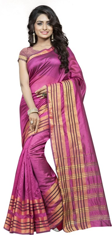 Saara Solid, Striped, Printed Chanderi Cotton Saree(Pink)