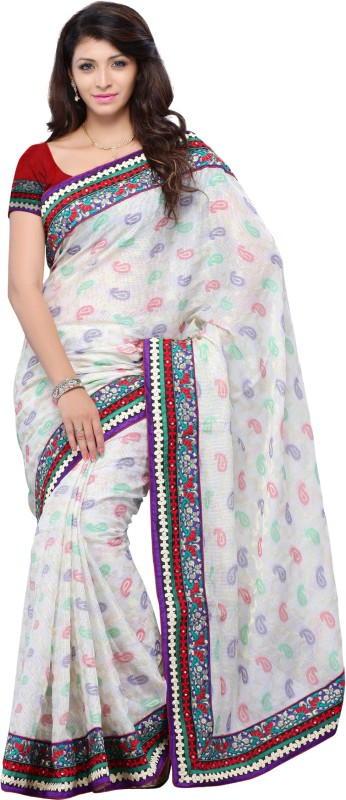JTInternational Self Design, Printed Fashion Art Silk Saree(White)