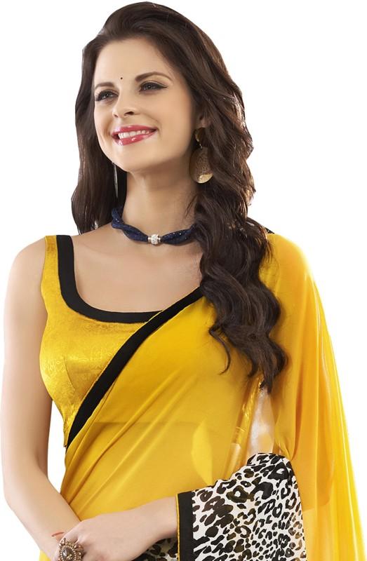 Khoobee Self Design Fashion Poly Georgette Saree(Multicolor, Yellow)