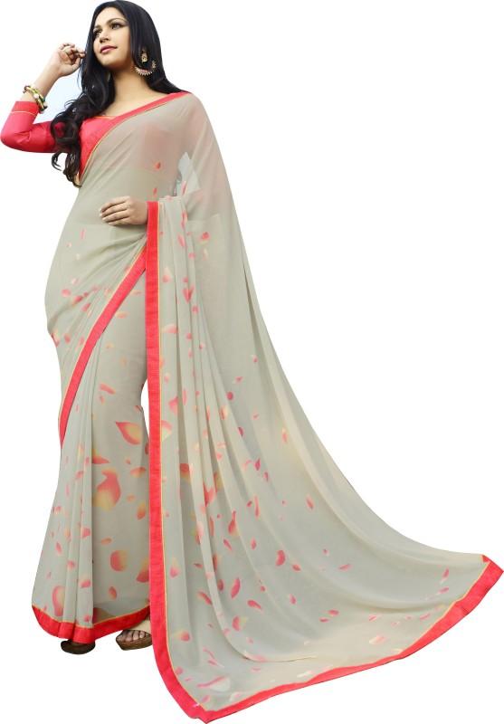 Khushali Self Design, Printed Fashion Georgette Saree(Beige, Red)