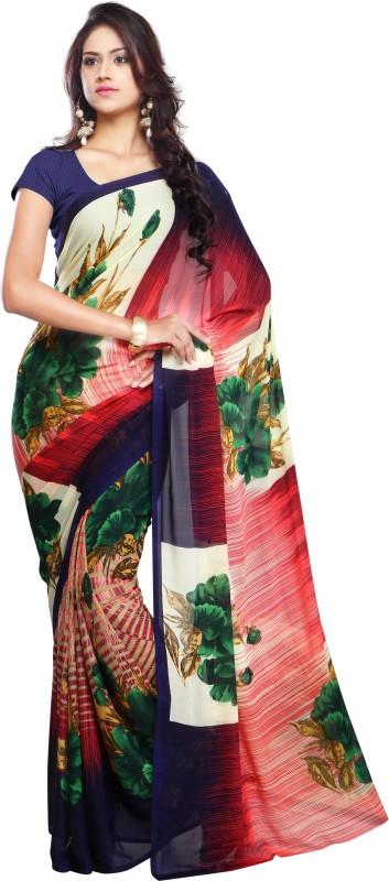 Ligalz Printed Fashion Handloom Chiffon Saree(Blue)