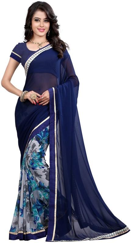Bombey Velvat Fab Floral Print Fashion Georgette Saree(Blue)