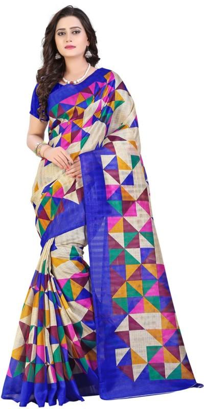 Saara Geometric Print Assam Silk Cotton, Silk Saree(Multicolor)