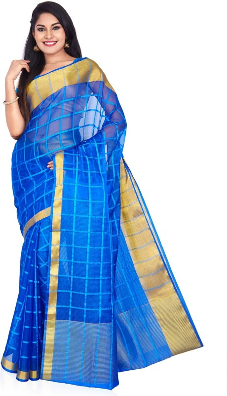 Roopkala Silks Self Design Bollywood Organza Saree(Blue)