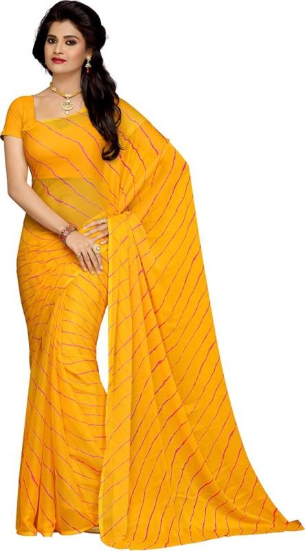 Rani Saahiba Striped Leheria Synthetic Chiffon Saree(Yellow)