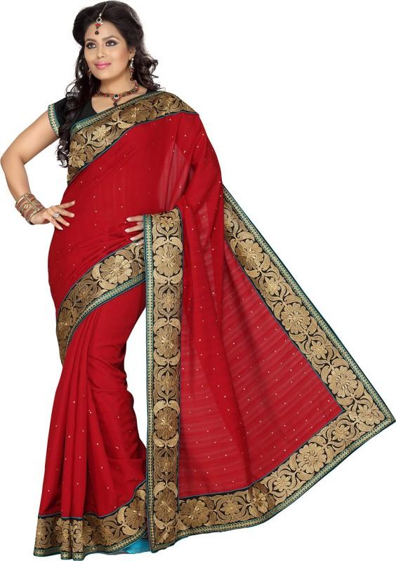 Ishin Embroidered Fashion Art Silk Saree(Maroon)