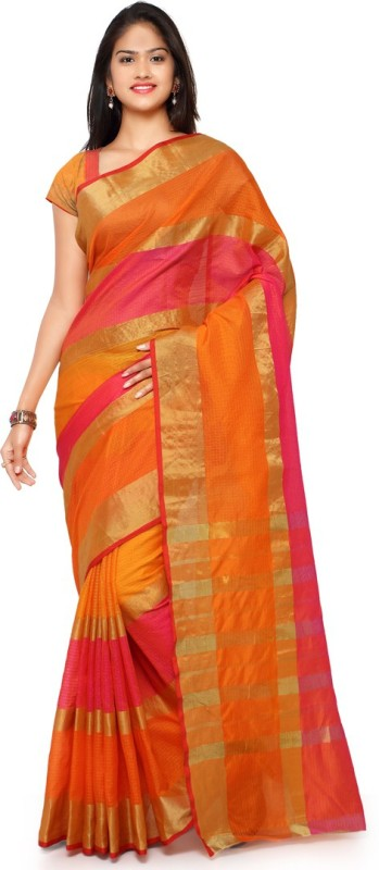 Saara Striped Fashion Poly Silk Saree(Orange, Pink)