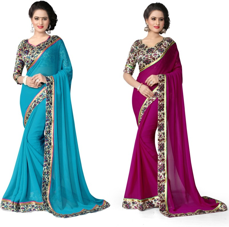 Indianbeauty Self Design, Solid, Printed Bollywood Chiffon Saree(Pack of 2, Purple, Light...