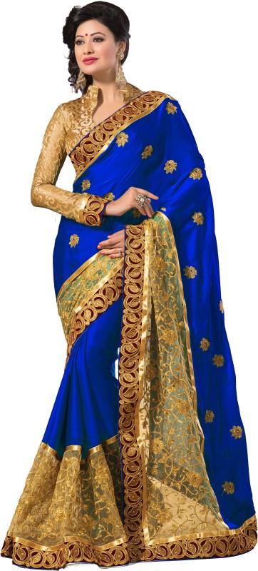 M.S.Retail Self Design Fashion Satin, Net Saree(Blue, Gold)