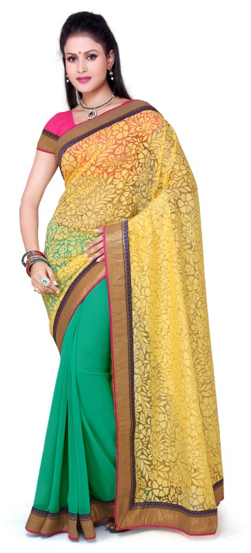 M.S.Retail Floral Print Bollywood Chiffon Saree(Multicolor)