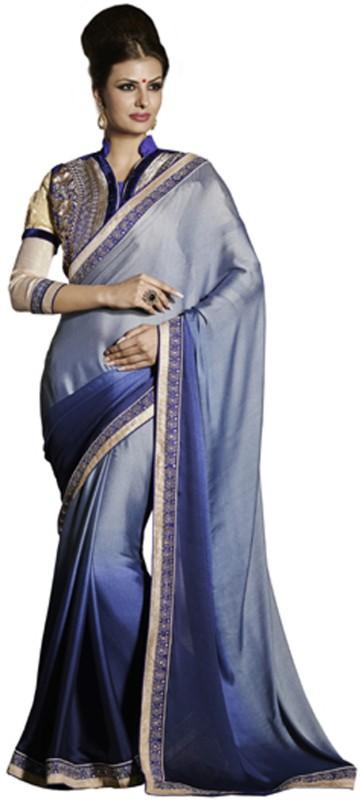 Desi Butik Self Design Fashion Satin Blend Saree(Purple)