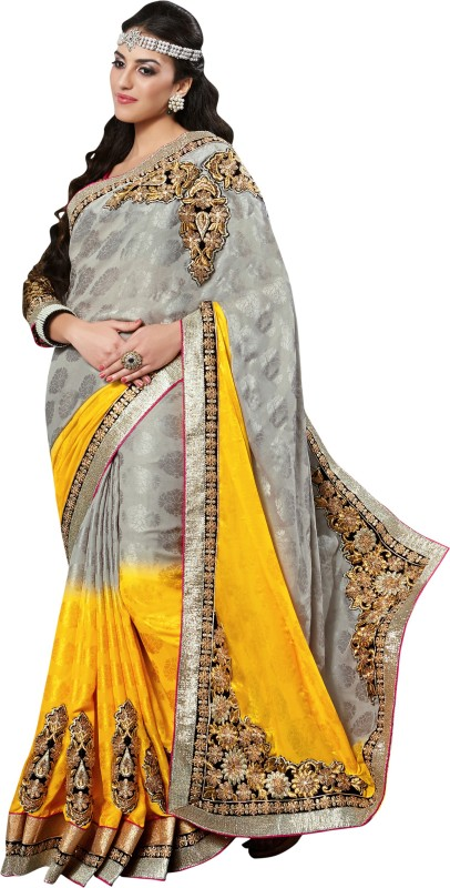 Jiya Self Design, Embroidered, Embellished Fashion Cotton Blend Saree(Black, Grey, Yellow)
