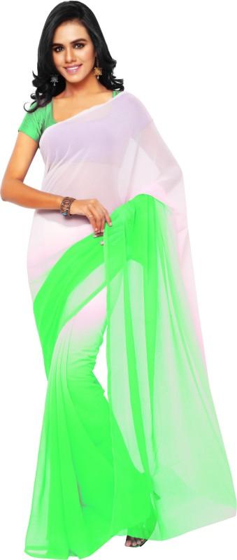 Aruna Sarees Plain Daily Wear Chiffon Saree(Green, White)