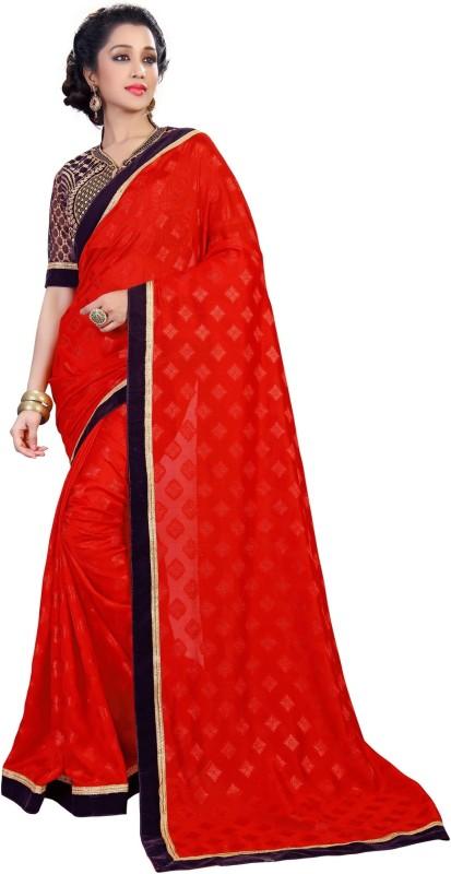 Khushali Self Design, Embroidered Fashion Jacquard, Georgette Saree(Red, Purple, Beige)