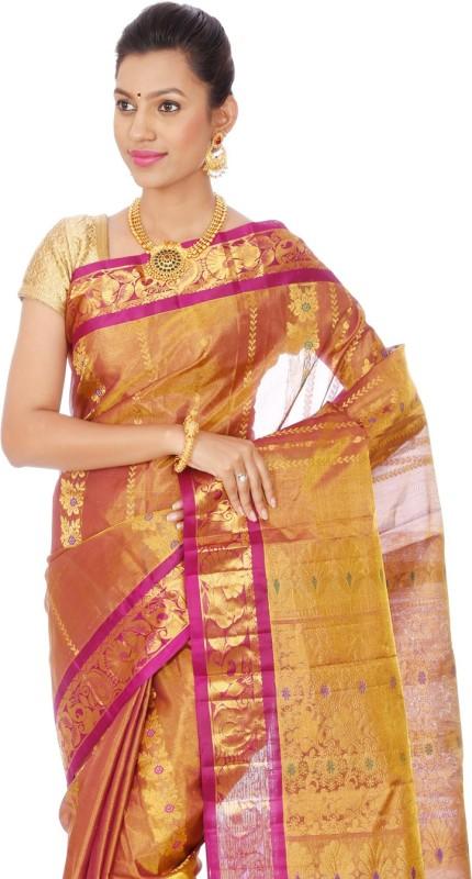 Mahaveersilkcreations Printed Kanjivaram Handloom Tissue Saree(Pink)