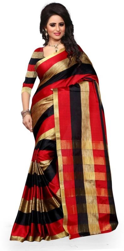 Style U Self Design Chanderi Poly Silk Saree(Black, Red)