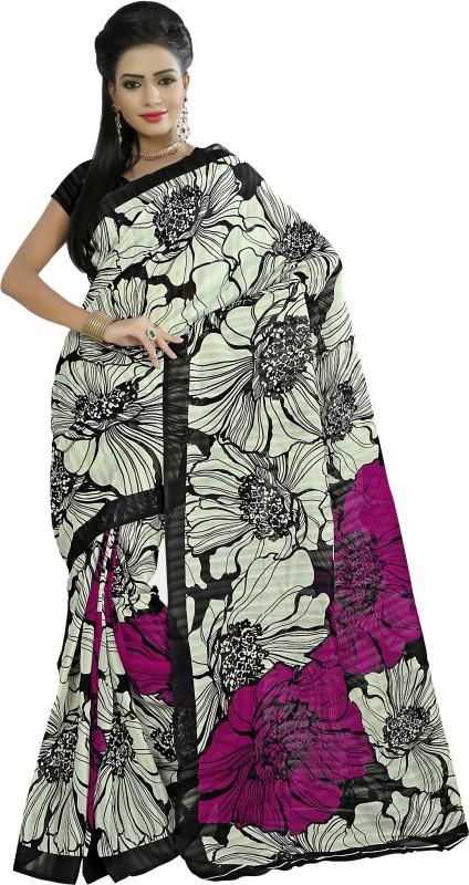 Khushali Self Design, Printed Fashion Art Silk Saree(Beige, Black, Multicolor)