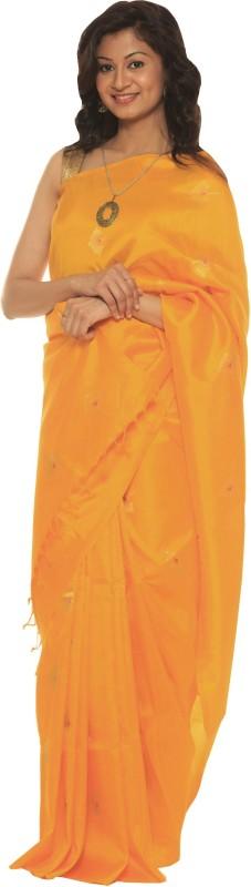Indo Mood Woven Fashion Banarasi Silk Saree(Yellow)