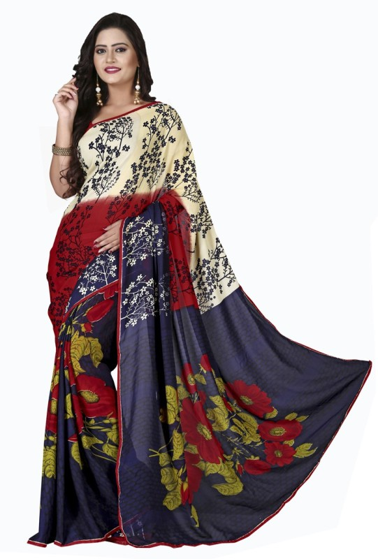 Khushali Self Design, Printed Fashion Georgette Saree(Yellow, Red, Multicolor, Blue)