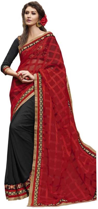 Desi Butik Self Design Fashion Jacquard, Georgette Saree(Red, Black)