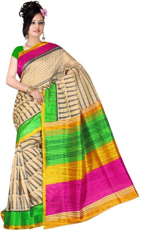 Khoobee Self Design, Printed Fashion Poly Silk Saree(Multicolor, Beige)
