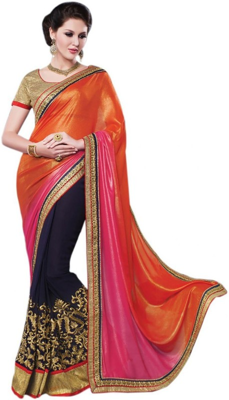 Bollywood Designer Solid Fashion Poly Georgette Saree(Orange)