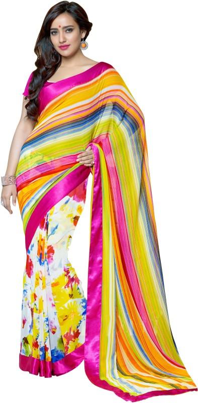 Khoobee Self Design, Printed Fashion Georgette Saree(Multicolor)