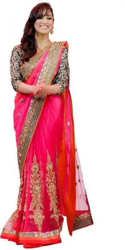 Meera Saree Self Design Bollywood Net Saree(Multicolor)