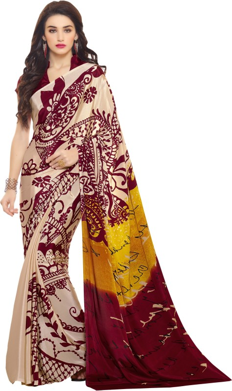 Khushali Self Design, Printed Fashion Crepe Saree(Multicolor)