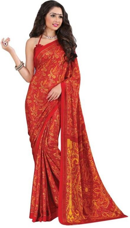 Khushali Self Design, Printed Fashion Crepe Saree(Red, Yellow)