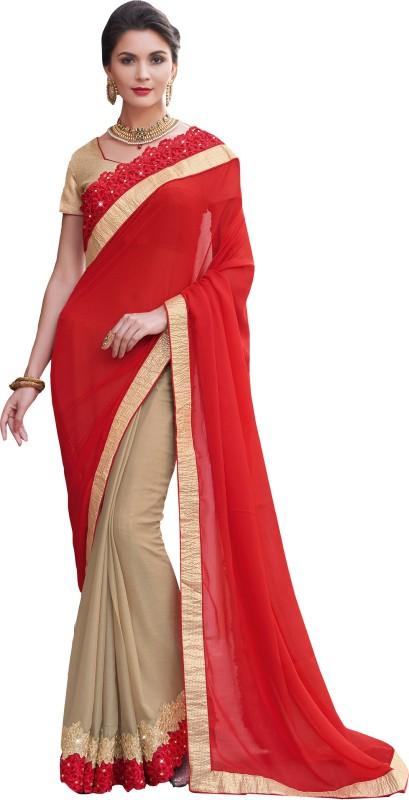 Jiya Self Design, Embroidered, Embellished Fashion Satin Blend, Chiffon Saree(Red, Beige)