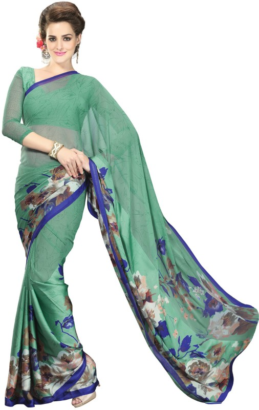 Khushali Self Design, Printed Fashion Satin, Georgette Saree(Light Green, Multicolor)